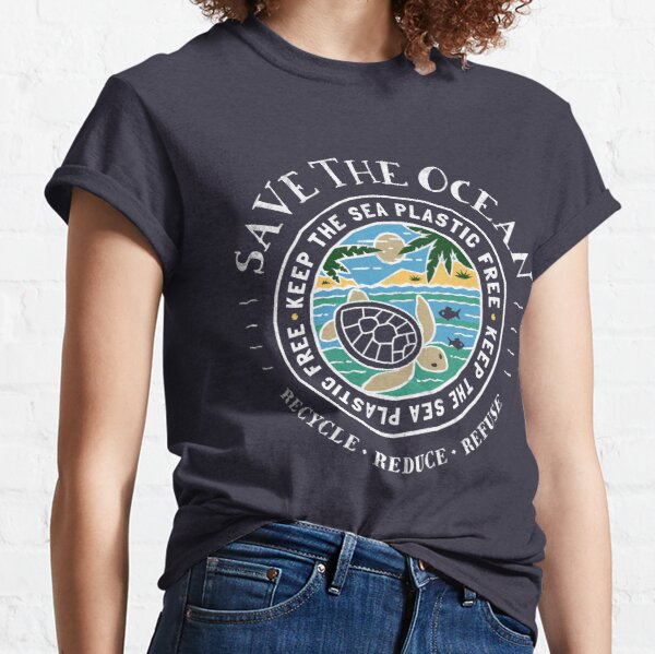 Save The Ocean Keep the Sea Plastic Free Turtle Scene Classic T-Shirt