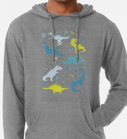 Space Dinosaurs in Bright Green and Blue Lightweight Hoodie