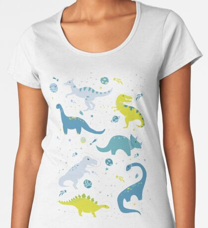 Space Dinosaurs in Bright Green and Blue Women's Premium T-Shirt