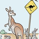 Kangaroo Road Sign. by Jed Dunstan