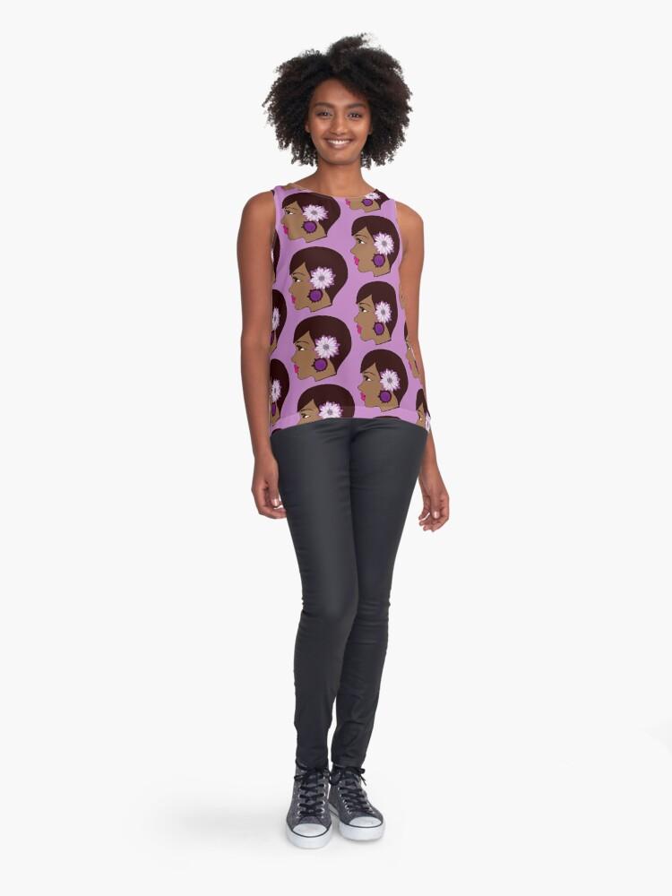 Alternate view of  Flower Women Black Queen Summer Apparel  Sleeveless Top