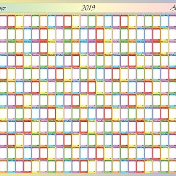 2019 anual planner specific color for each weekday by AdiBud