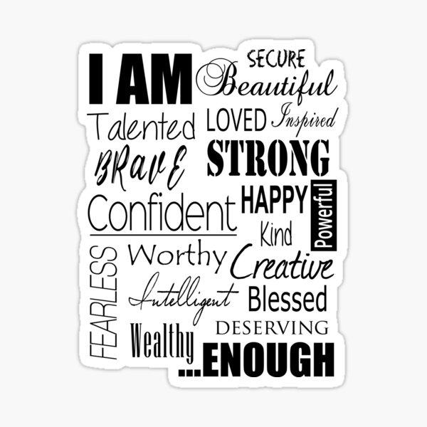 The I AM Positive Affirmation Print - Female Sticker