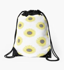 Golden Mandala Sunflower Drawstring Bag