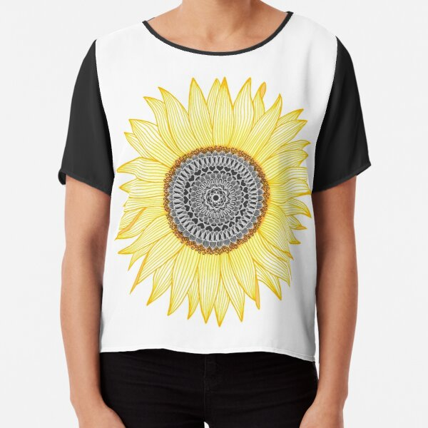 Golden Mandala Sunflower Chiffon Top