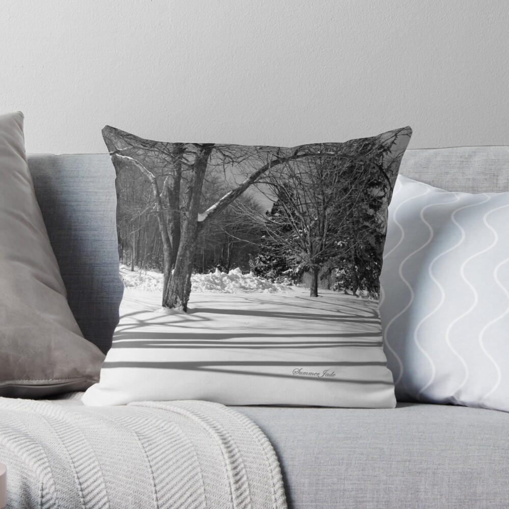 That Cold Winter Sun ~ On Snow Throw Pillow