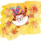 October Tiger : Yellow leaves by Lalayf