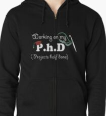 working on my projects half done teacher t-shirts Zipped Hoodie