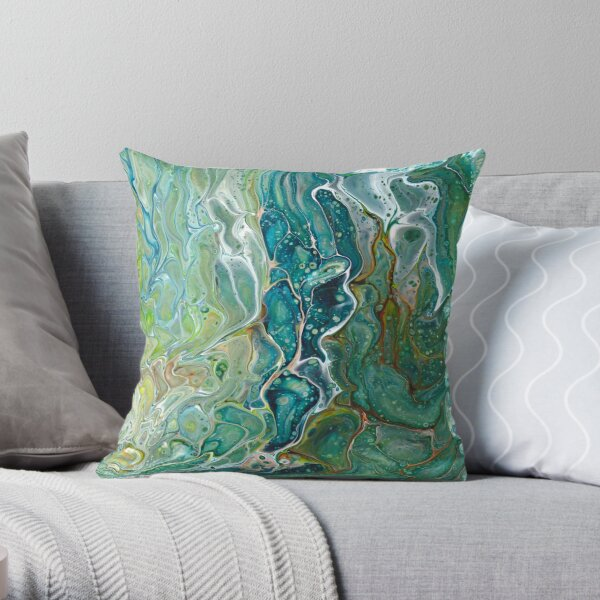 Poured acrylic paints green blues Throw Pillow