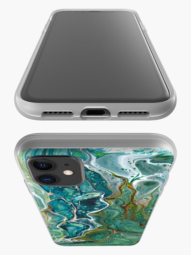 Alternate view of Poured acrylic paints green blues iPhone Case & Cover