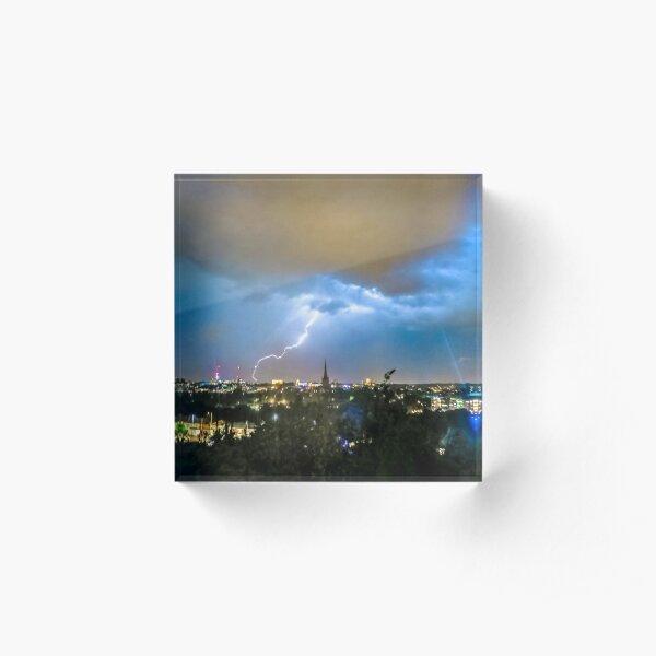 Lightning Over Norwich, U.K Acrylic Block