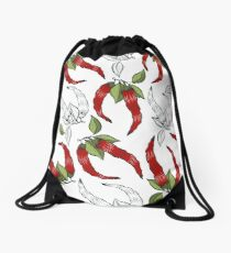 Print with chili peppers. Drawstring Bag