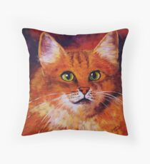 Longhaired Ginger Cat Throw Pillow