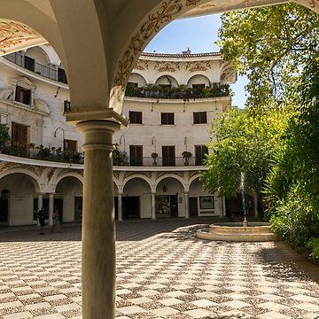 Gallivanting Around Seville is Pure Charm - Alluring Checkerboard Courtyard by GeorgiaM