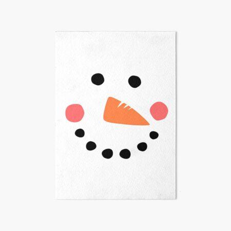 Snowman Face Art Board Print