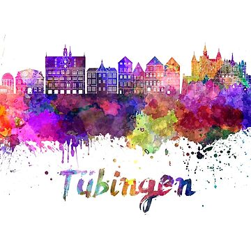 Tübingen skyline in watercolor splatters  by paulrommer