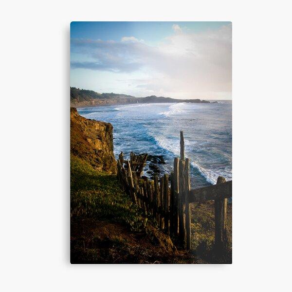 Fence on the Coast Metal Print