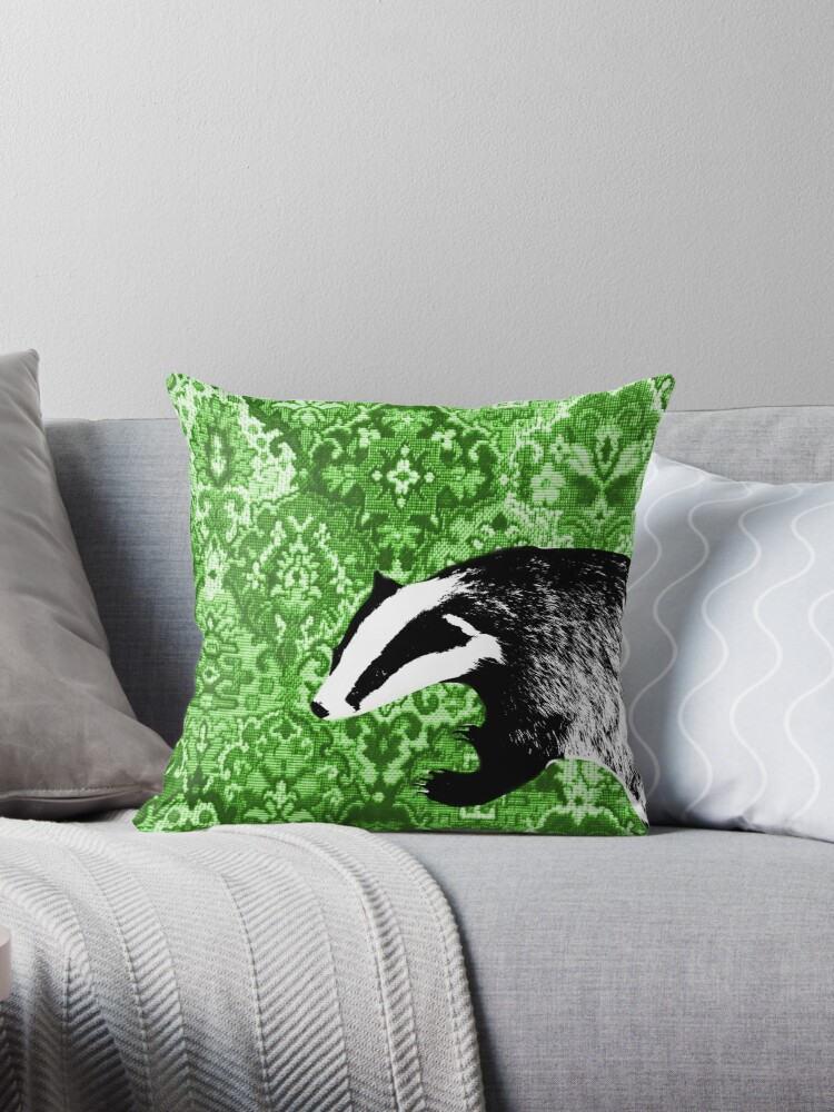 Badger on green tapestry by chihuahuashower