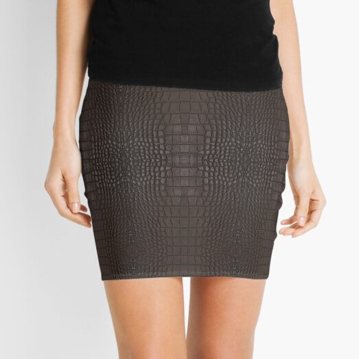 Brown Gator Leather Skin Mini Skirt