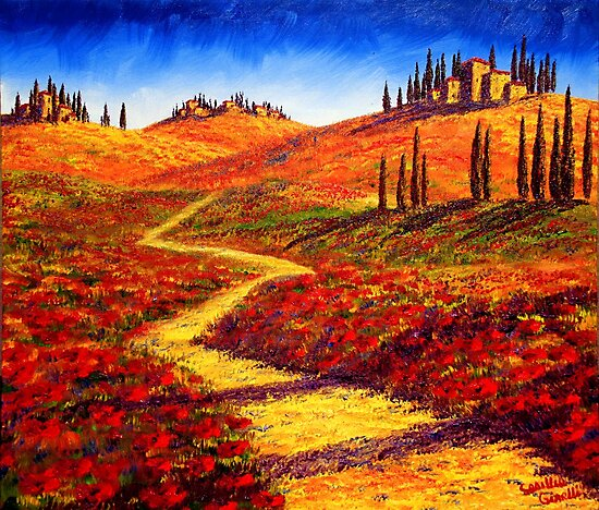Tuscany Cypress Shadows by sesillie