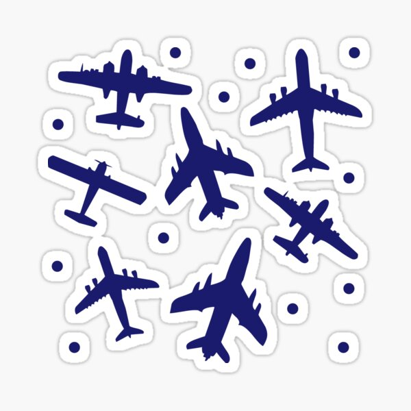Blue and White Aeroplanes Silhouette Pattern Sticker