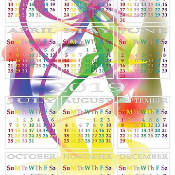2019 calendar color days on morning dream by AdiBud