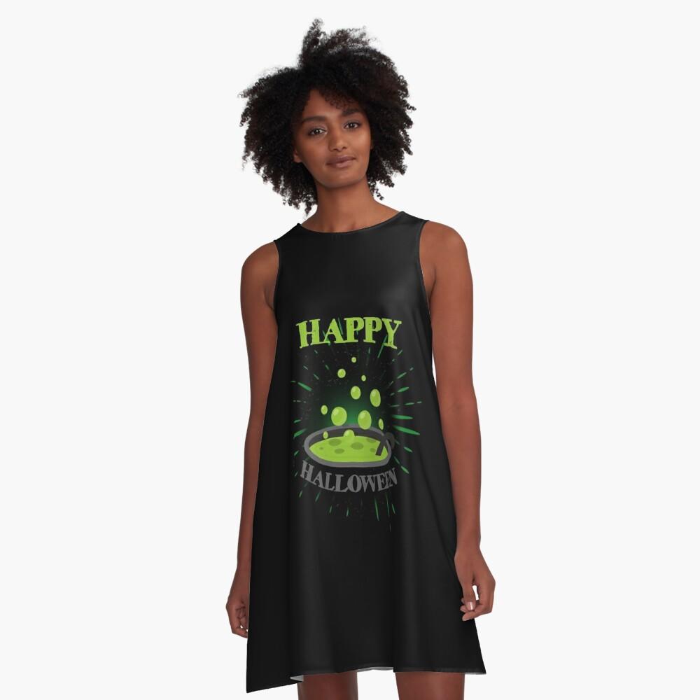 Horror Witch Enchantress Potion Halloween Funny Gift Vestido acampanado