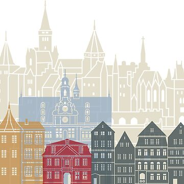 Tübingen skyline poster  in editable vector by paulrommer