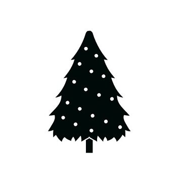 Cute Decorated Christmas Tree in Black and White by TheKitch
