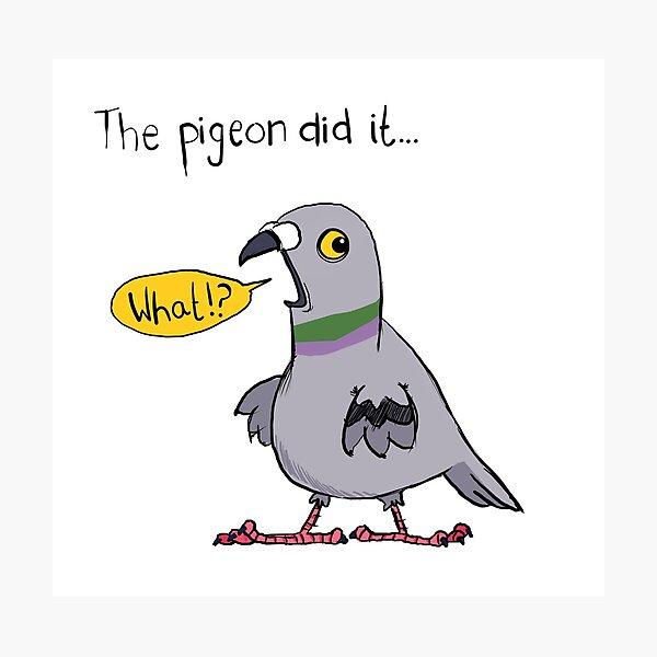 Stinky Pigeon Bird Cartoon Funny Blame Kids Silly Photographic Print