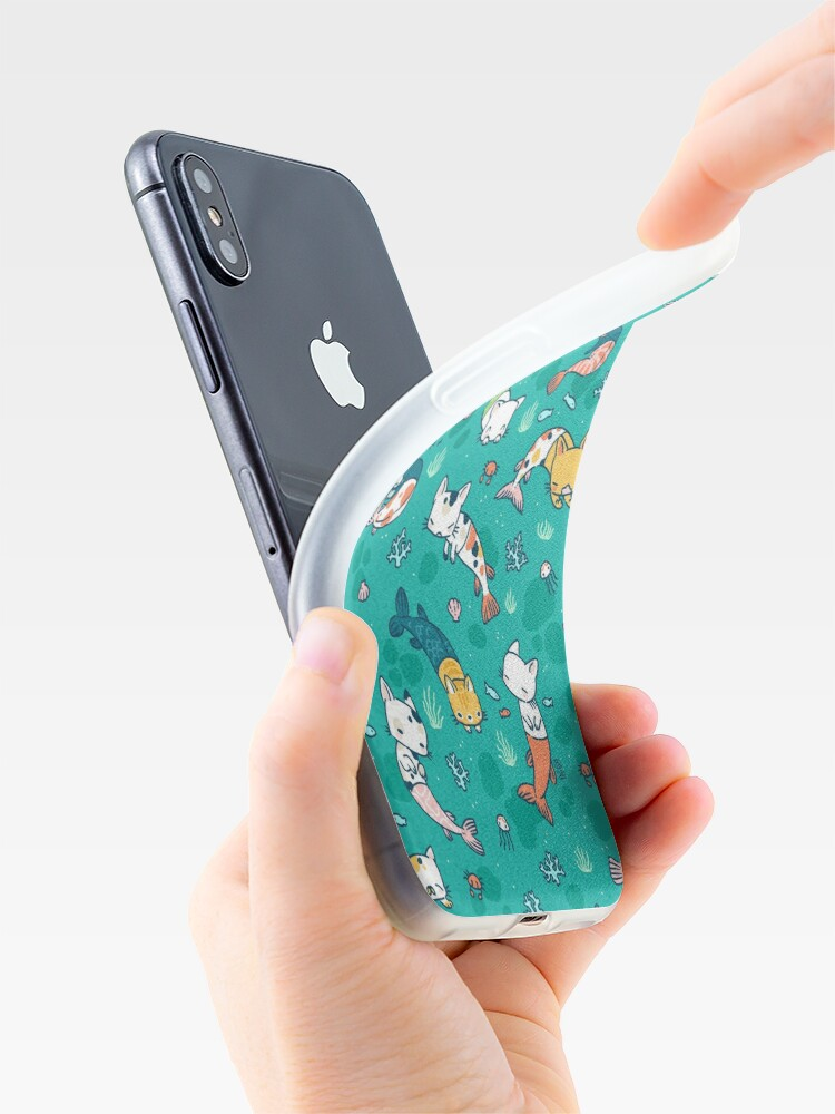 Alternate view of Meowmaids Teal iPhone Case