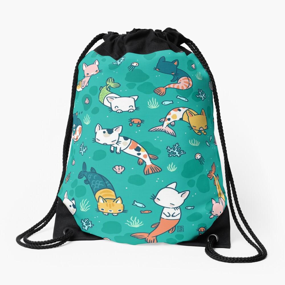 Meowmaids Teal Drawstring Bag