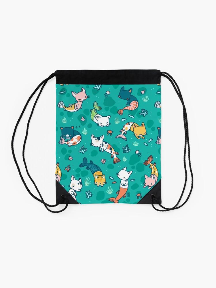 Alternate view of Meowmaids Teal Drawstring Bag