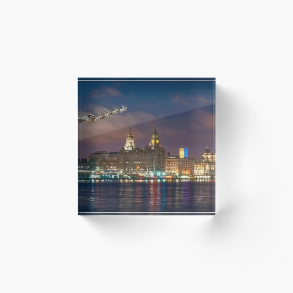 Santa's Sleigh over the Liverpool Waterfront Acrylic Block