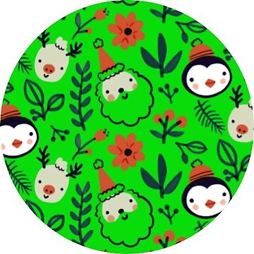 Bright Green Christmas Penguin and Santa Sticker  by TheKitch