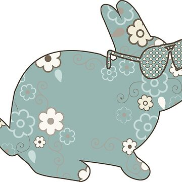 Cute Unique Easter Vintage Distressed Rabbit with Sunglasses by riverportgifts