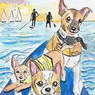 Paddleboarding Welpen von HappyPawtraits
