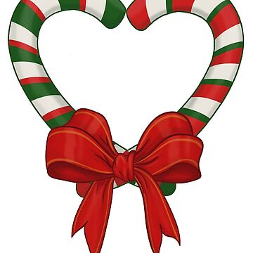 Christmas Candy Cane Heart and Bow by RedMouseGames