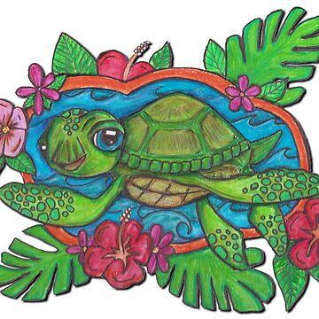 Cute Sea Turtle by JenStedmansArt