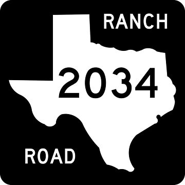 Texas Ranch-to-Market Road RM 2034 | United States Highway Shield Sign by djakri