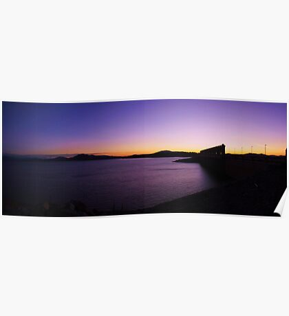 sundown over hume weir wall,panorama Poster