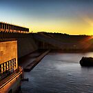 hume weir wall sunset by dmaxwell