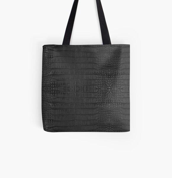 Black Alligator Skin All Over Print Tote Bag