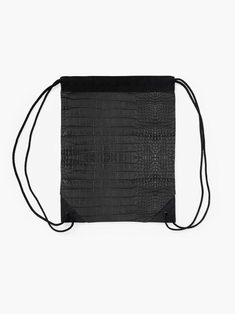 Alternate view of Black Alligator Skin Drawstring Bag