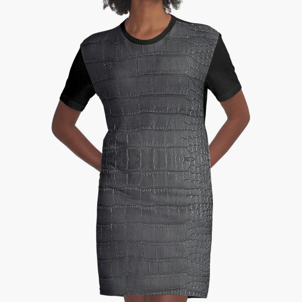 Black Alligator Skin Graphic T-Shirt Dress