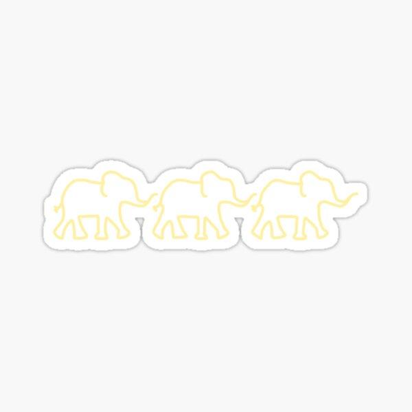 yellow line of elephants Sticker