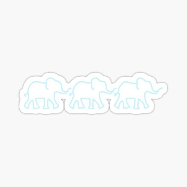 light blue line of elephants  Sticker
