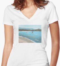 Balboa Island Plein Air Women's Fitted V-Neck T-Shirt