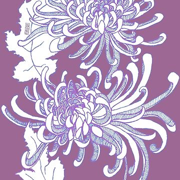 Chrysanthemum Infinity - Blue and  Purple by kikoeart