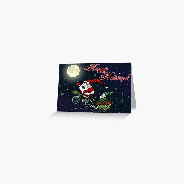 Santa on bike Greeting Card